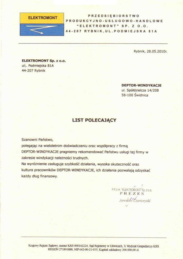 List referencyjny wyrażający opinie klientów na temat usług odzyskiwania należności przez firmę Deptor-Windykacje Radosław Trawczyński od firmy Elektromont