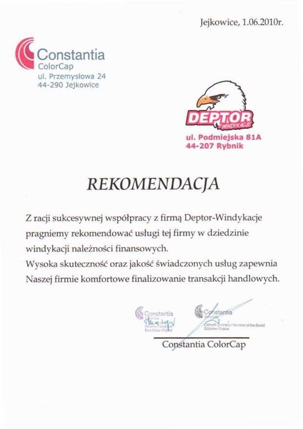 List referencyjny wyrażający opinie klientów na temat usług odzyskiwania należności przez firmę Deptor-Windykacje Radosław Trawczyński od firmy Constantia ColorCap