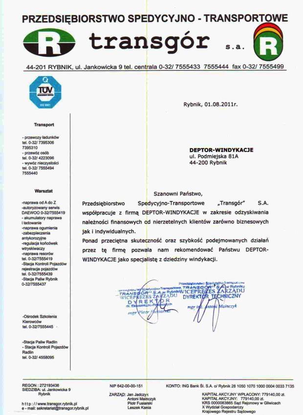 List referencyjny wyrażający opinie klientów na temat usług odzyskiwania należności przez firmę Deptor-Windykacje Radosław Trawczyński od firmy Transgór