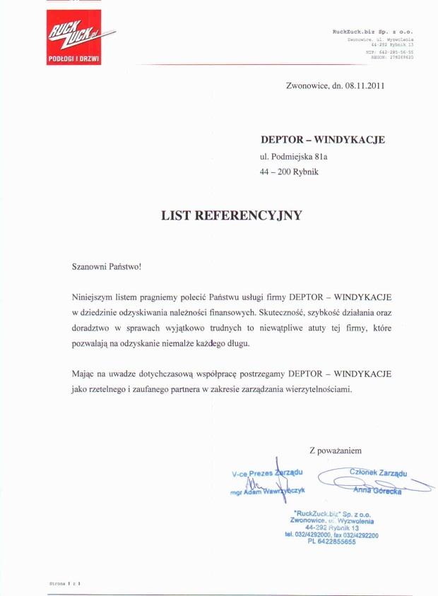List referencyjny wyrażający opinie klientów na temat usług odzyskiwania należności przez firmę Deptor-Windykacje Radosław Trawczyński od firmy Ruck-Zuck