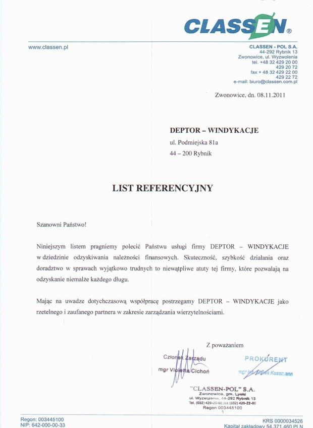 List referencyjny wyrażający opinie klientów na temat usług odzyskiwania należności przez firmę Deptor-Windykacje Radosław Trawczyński od firmy Classen