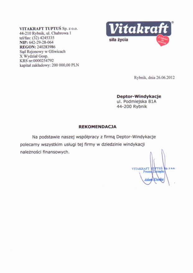 List referencyjny wyrażający opinie klientów na temat usług odzyskiwania należności przez firmę Deptor-Windykacje Radosław Trawczyński od firmy Vitakraft