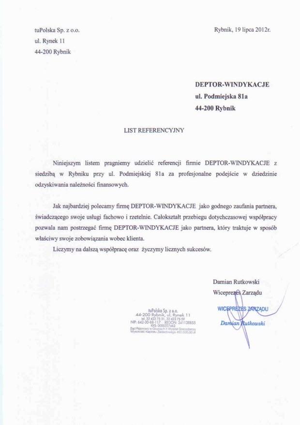 List referencyjny wyrażający opinie klientów na temat usług odzyskiwania należności przez firmę Deptor-Windykacje Radosław Trawczyński od firmy tuPOLSKA