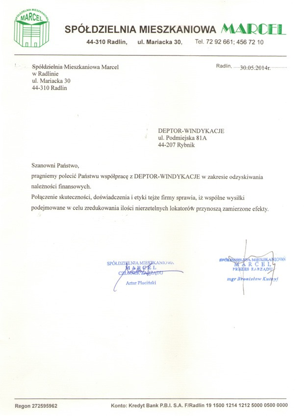 List referencyjny wyrażający opinie klientów na temat usług odzyskiwania należności przez firmę Deptor-Windykacje Radosław Trawczyński od SM MARCEL