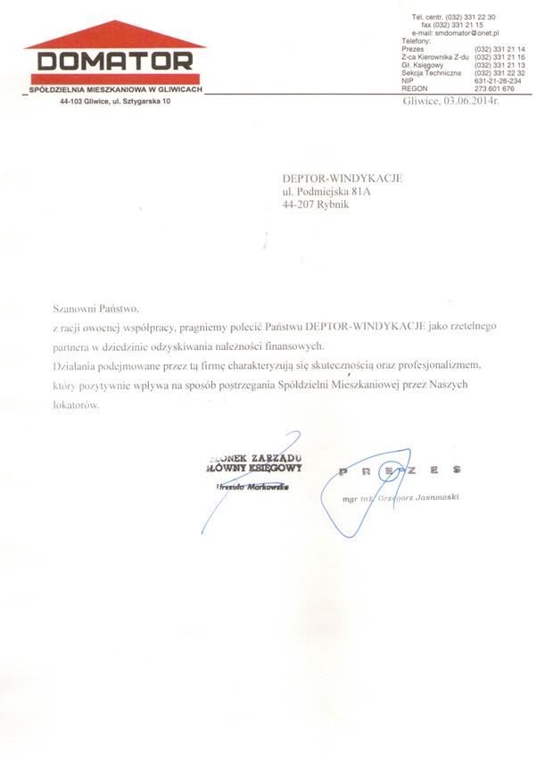 List referencyjny wyrażający opinie klientów na temat usług odzyskiwania należności przez firmę Deptor-Windykacje Radosław Trawczyński od firmy Domator